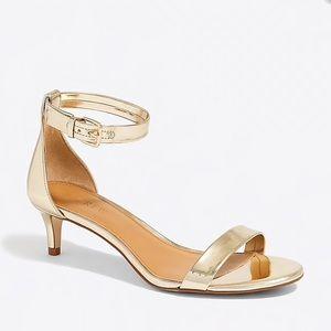 J crew gold kitten heels strap sandal